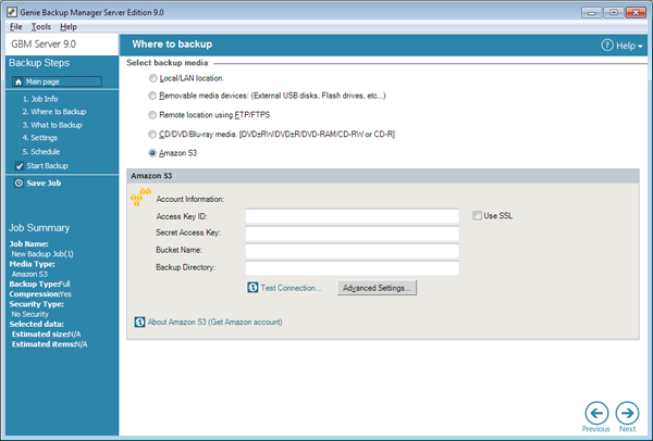 Gbm server screen shots genie9 local backup products.